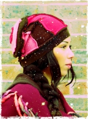 Kobie Brown & pink Cashmere Slouch Hat