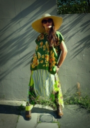 Upcycled Green Silk Scarf T-shirt Tunic Top
