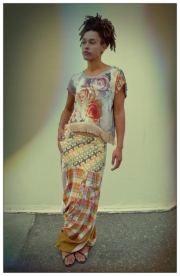 Upcycled Grey Rose Print Fringed Crop Top