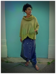 Upcycled Lime Green Cashmere Poncho