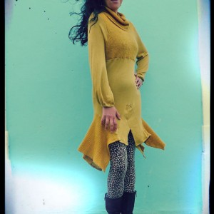 Cloe Mustard Cotton & Knit Sweater Dress