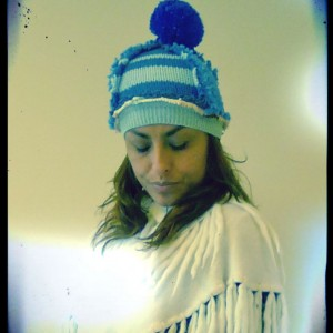 Erika Blue Bobble Hat 2