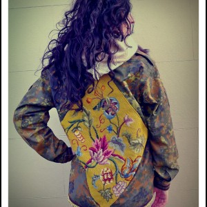 Upcycled Clothing Tapestry Military Jacket Shirt