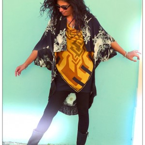 Upcycled Monochrome Silk Shrug Jacket