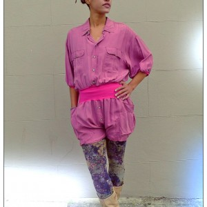Upcycled Pink Silk Shirt Shorts Pant suit