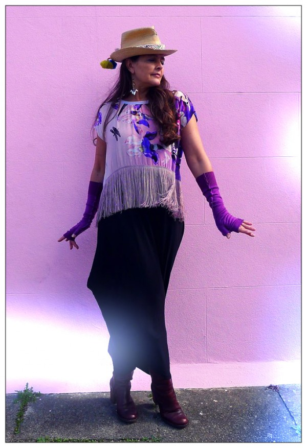 Upcycled Purple Silk Fringed Top