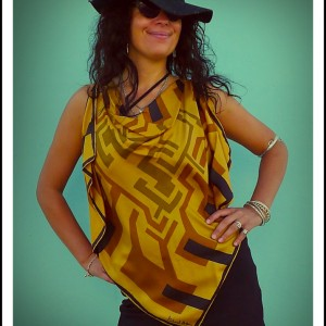 Upcycled Yellow Silk Scarf Origami Top