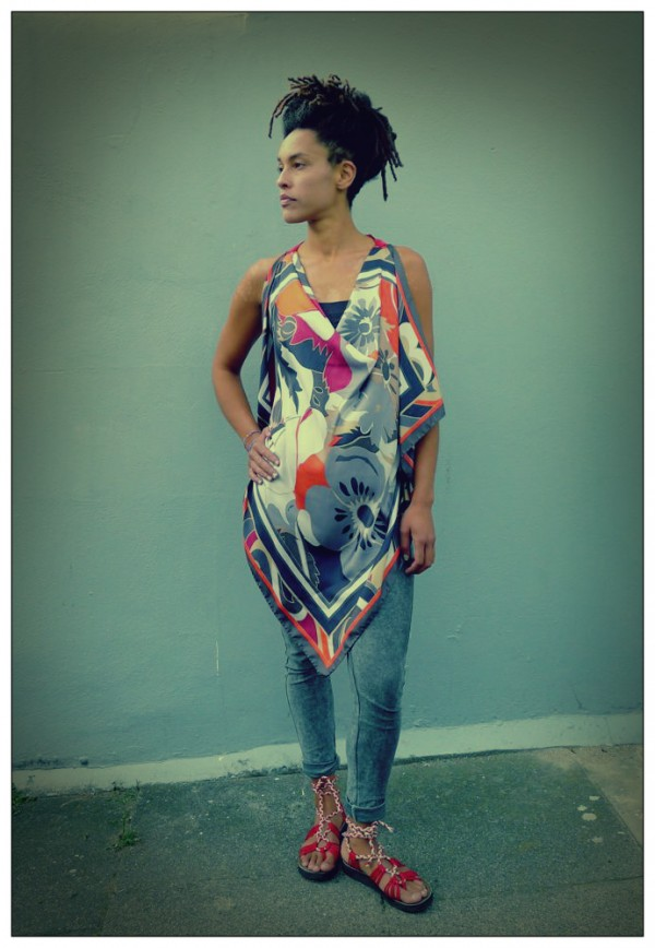 Upcycled Grey Silk Scarf Origami Top