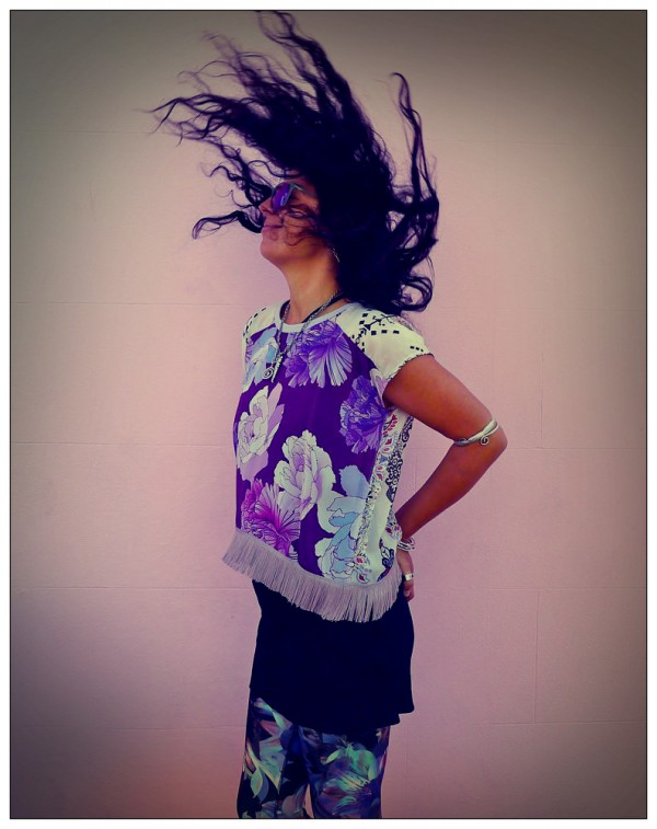 Upcycled Purple Fringed Crop Top