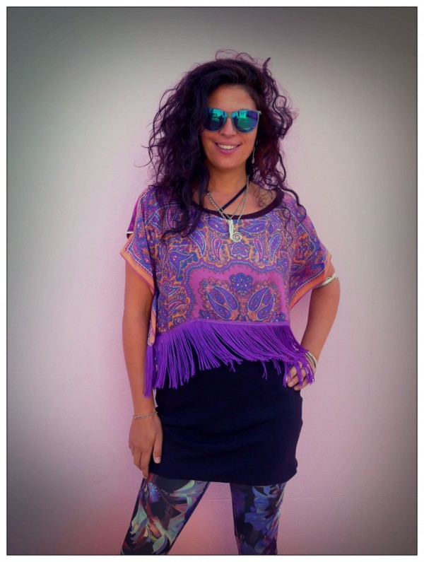Upcycled Purple paisley Fringed crop Top