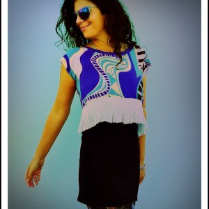 upcycled Blue Digital Print Fringed Silk Crop Top