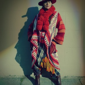 Upcycled Crochet Blanket Wool Cardigan Coat Red Pom Pom Collar